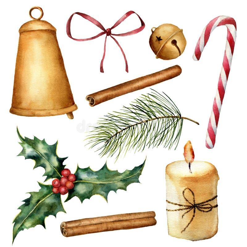 Natale pianta dell'acquerello ed insieme della decorazione Candela dipinta a mano, agrifoglio, campane, arco, cannella, bastoncin royalty illustrazione gratis