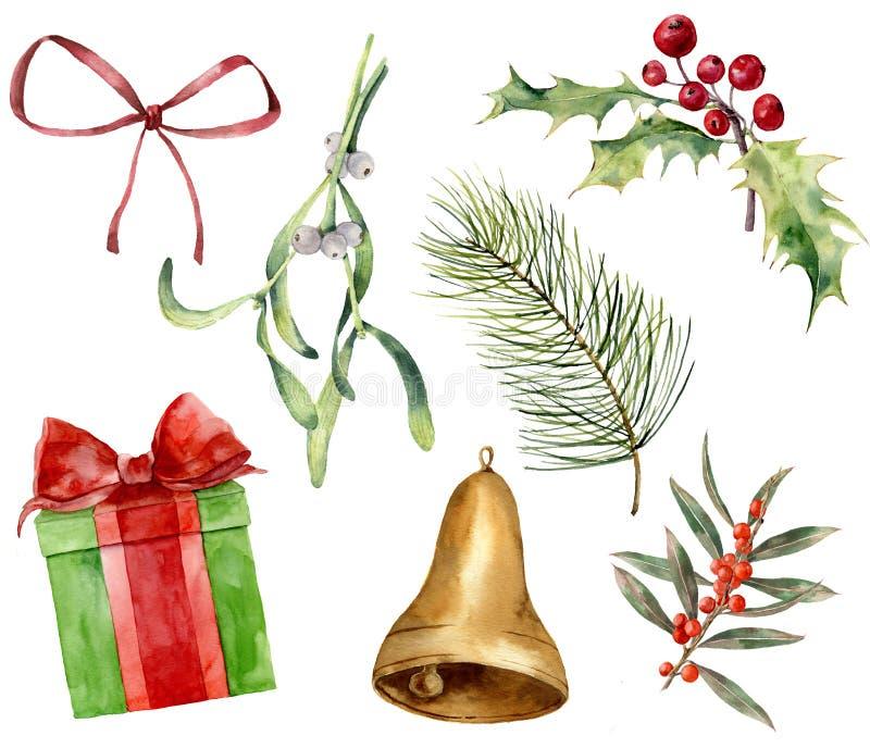 Natale pianta e decorazione dell'acquerello Vischio dipinto a mano, agrifoglio, regalo con l'arco, arco rosso, campana dell'oro,  royalty illustrazione gratis