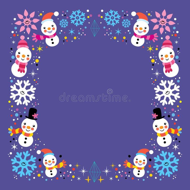 Natale pupazzo di neve & fondo del confine della struttura di vacanza invernale dei fiocchi di neve royalty illustrazione gratis