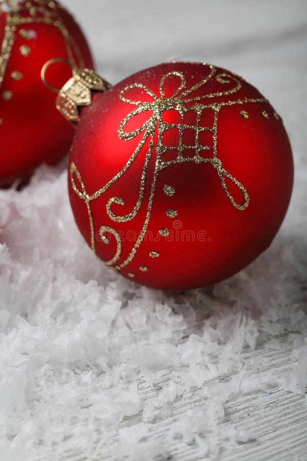 Natale rosso  decorazioni fotografia stock