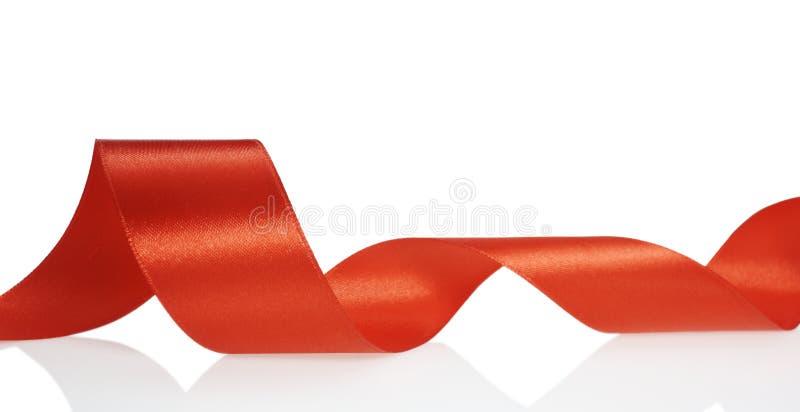 Natale rosso della decorazione del nastro fotografia stock libera da diritti