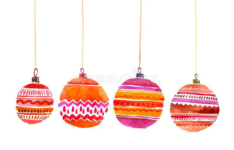 Natale rosso e acquerello rosa delle decorazioni immagini stock libere da diritti