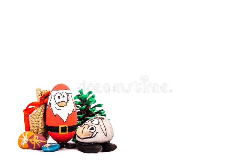 Natale Santa e la sua renna su fondo bianco fotografia stock libera da diritti