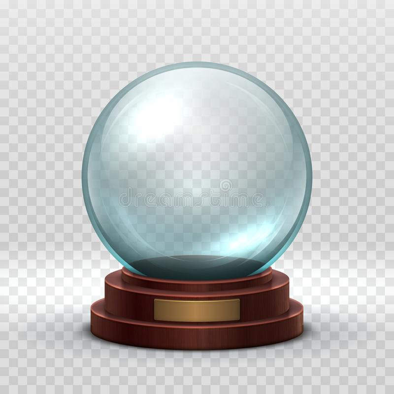 Natale Snowglobe Palla vuota di cristallo Modello magico di vettore della palla della neve di festa di natale isolato illustrazione di stock