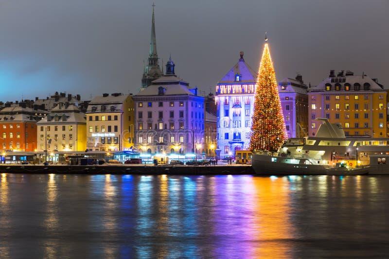 Natale a Stoccolma, Svezia fotografie stock libere da diritti