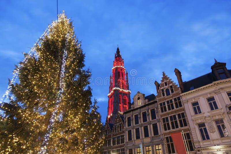 Natale su Grote Markt a Anversa immagine stock libera da diritti