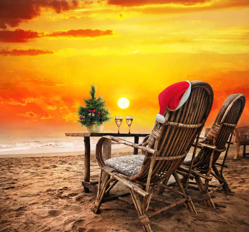Natale sulla spiaggia fotografia stock libera da diritti