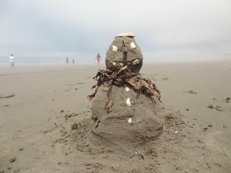 Natale sulla spiaggia sandman fotografia stock