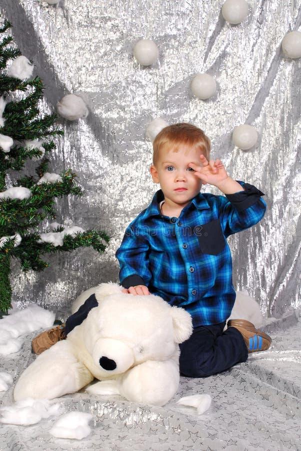 Natale sveglio del bambino del ragazzo immagini stock libere da diritti