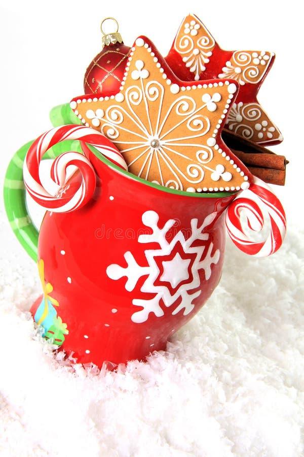 Natale tazza e biscotti fotografia stock