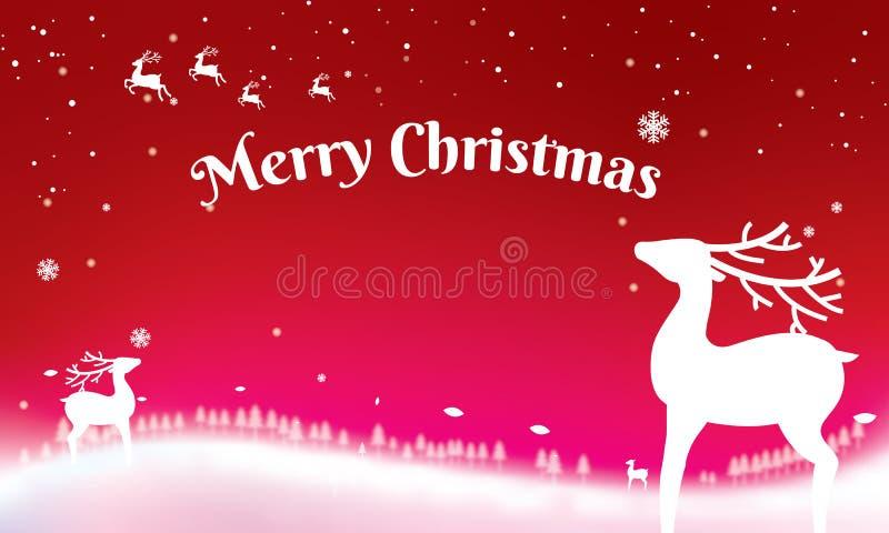 Natale tipografico sul fondo brillante di natale con la lan di inverno illustrazione vettoriale