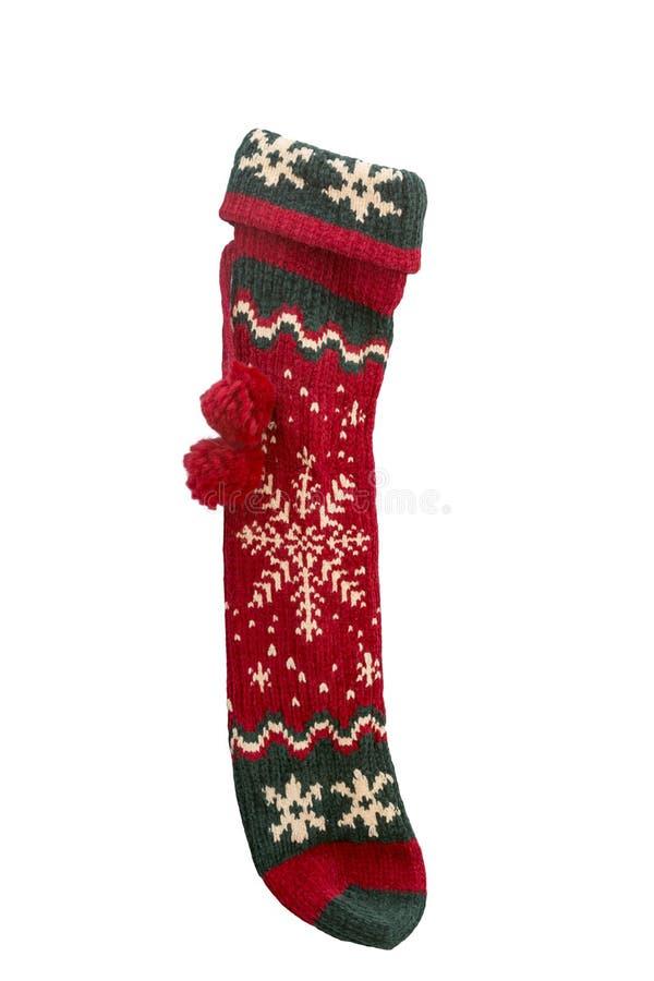 Natale tricottato rosso e verde lungo che immagazzina con la corda ed il po immagini stock libere da diritti
