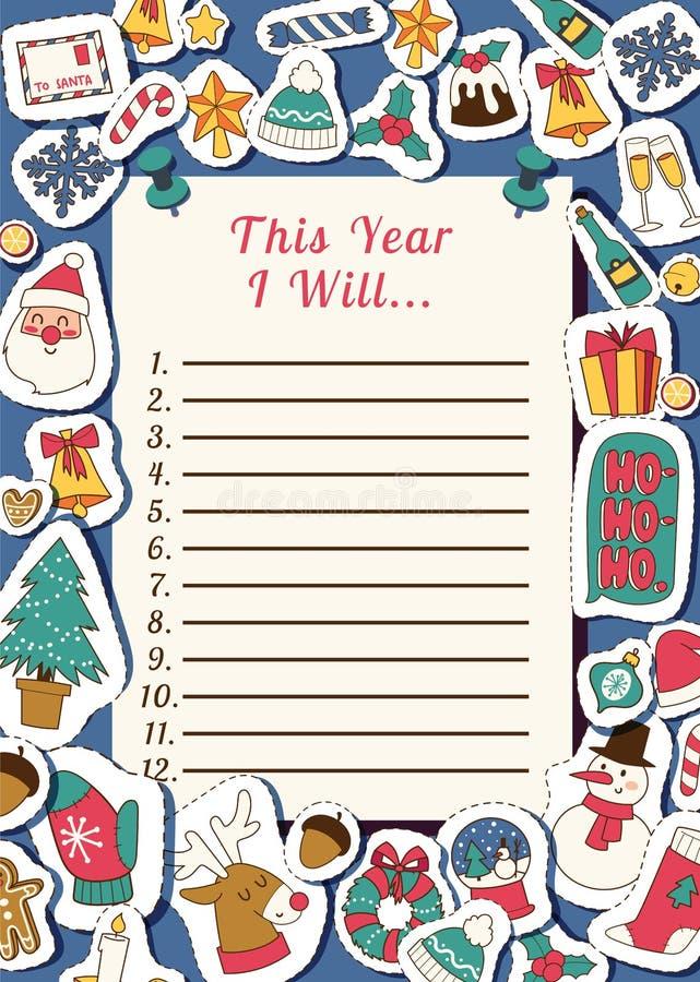Natale un inverno felice di 2019 del buon anno di Santa della lettera della cartolina d'auguri della lista di obiettivi della car illustrazione di stock