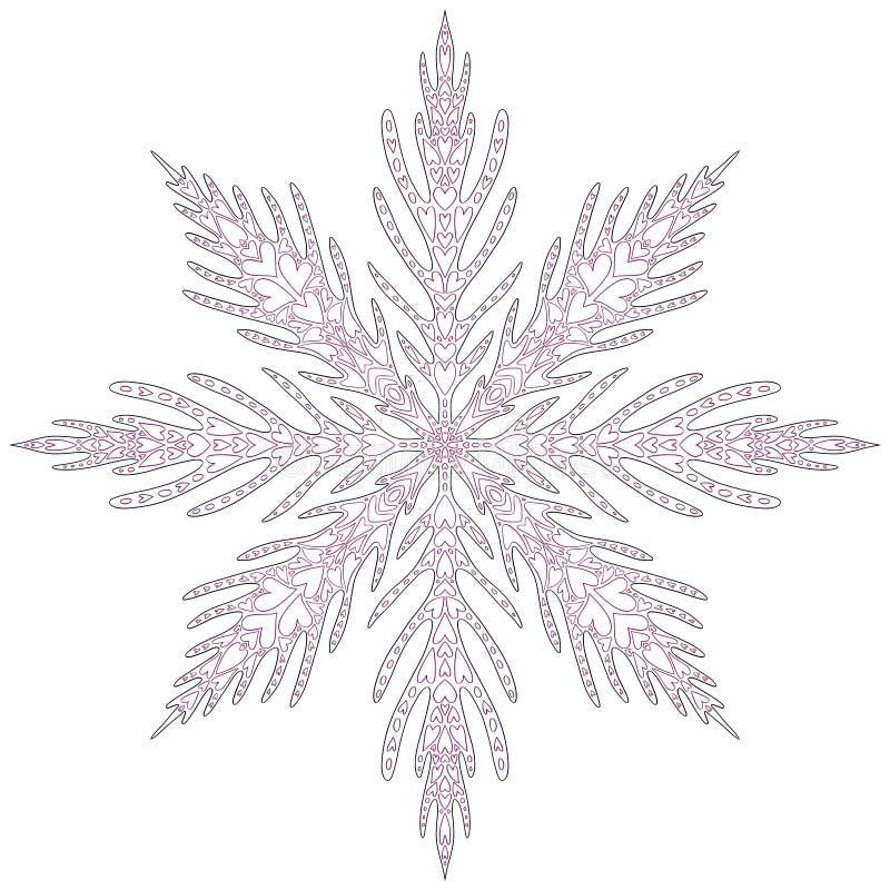 Natale unico del fiocco di neve Pagina di coloritura adulta per il nuovo anno Il Natale di festa stampa illustrazione vettoriale