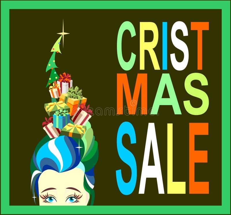 Natale vendita, ragazza, contenitori di regalo, modo royalty illustrazione gratis