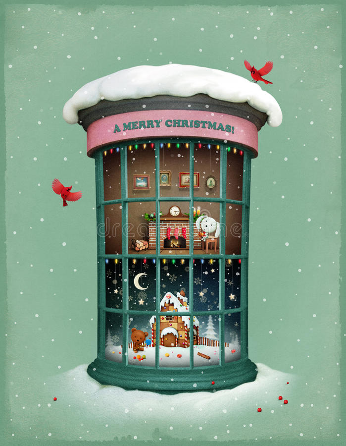 Natale Vitrina royalty illustrazione gratis