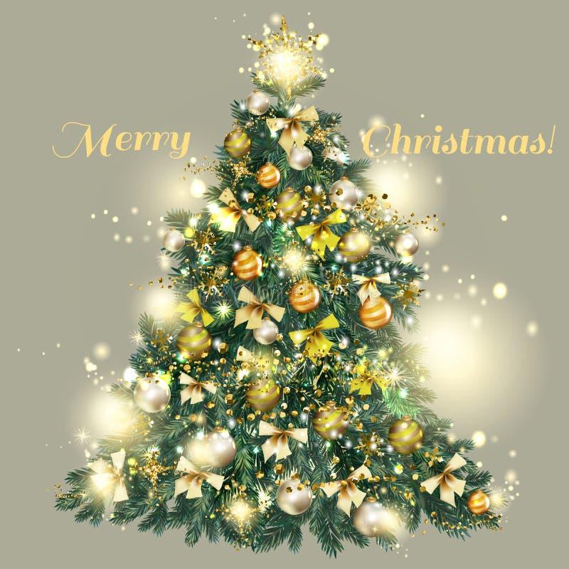 8 Natali hanno decorato l'albero con le bagattelle dorate e d'argento, stella illustrazione di stock