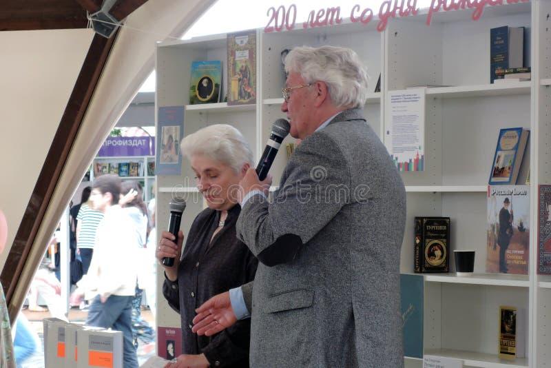 Natalia Dmitrievna Solzhenitsyna presents a book at the bokfair. Natalia Dmitrievna Solzhenitsyna presents a book at the book fair. Title of the book fair: The stock photo
