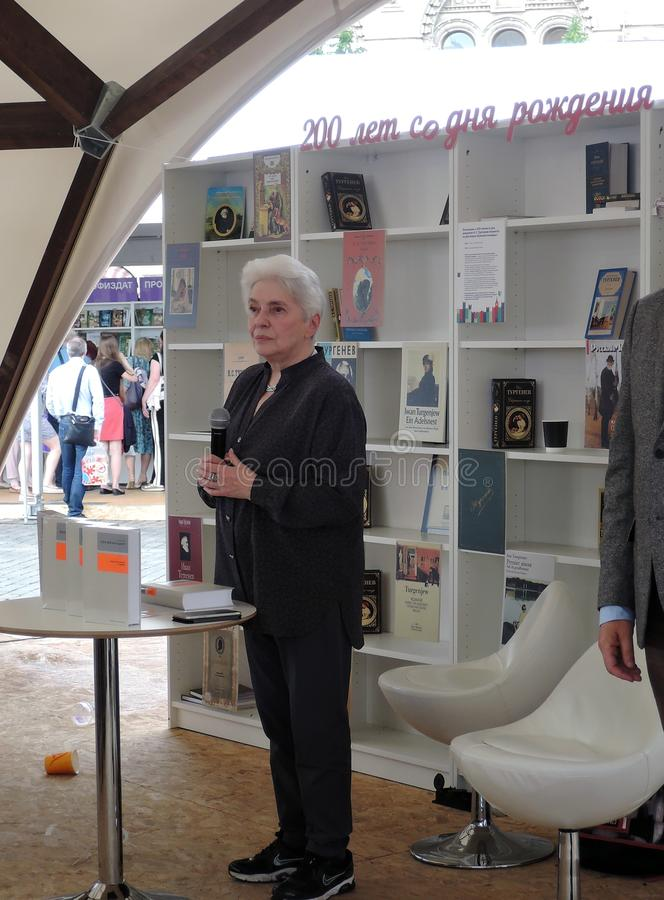 Natalia Dmitrievna Solzhenitsyna presents a book at the bokfair. Natalia Dmitrievna Solzhenitsyna presents a book at the book fair. Title of the book fair: The stock photos