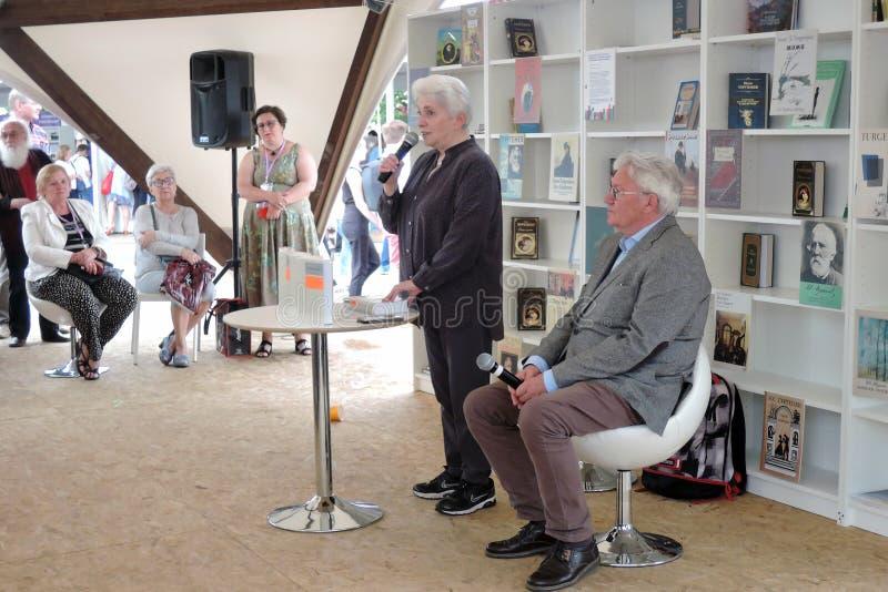 Natalia Dmitrievna Solzhenitsyna presents a book at the bokfair. Natalia Dmitrievna Solzhenitsyna presents a book at the book fair. Title of the book fair: The royalty free stock photography
