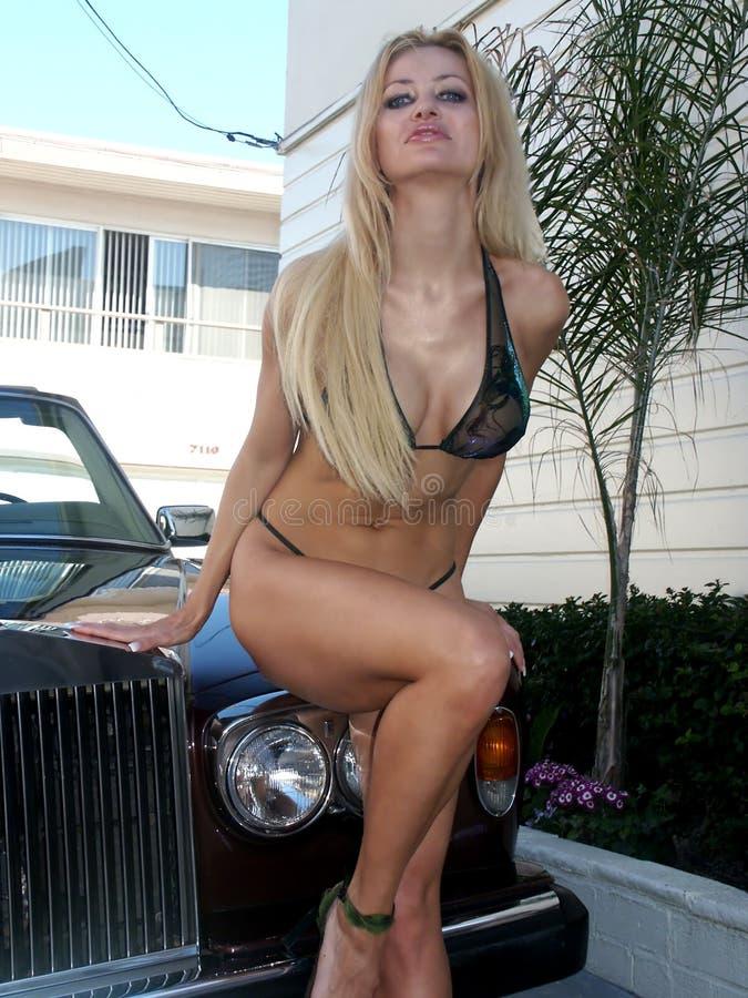 Download Natalie Bikini 2 stock image. Image of brunette, model, fountain - 79193