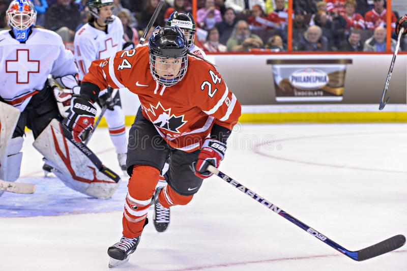 IIHF Women's Ice Hockey World Championship. Natalie Spooner in action for Team Canada during their comprehensive 13-0 victory over Switzerland in their second stock photo