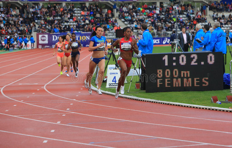 Nataliya Lupu and Chanelle Price on the 800 meters race. On DecaNation International Outdoor Games on September 13, 2015 in Paris, France stock photos
