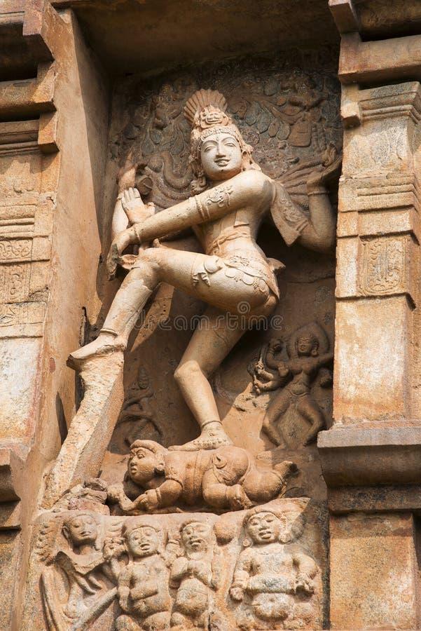 Nataraja skulptur på väggen, Brihadeeswarar tempel, Gangaikonda Cholapuram Thanjavur arkivbild