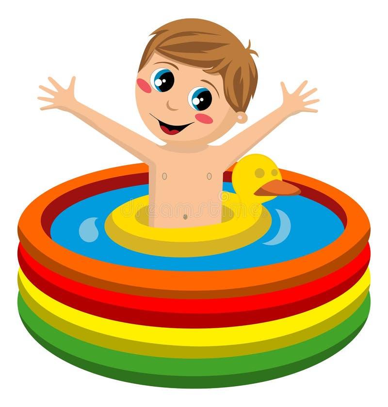 Natation d 39 enfant dans la piscine gonflable images libres for Piscine gonflable