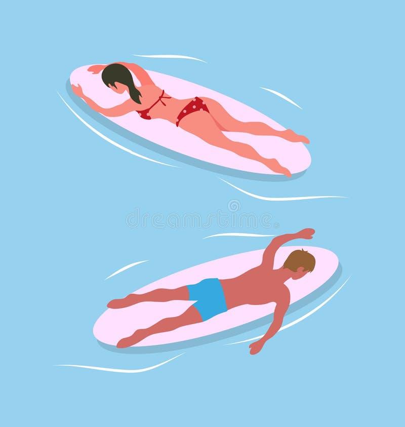 Natation d'homme et de femme sur des planches de surf en mer bleue illustration de vecteur