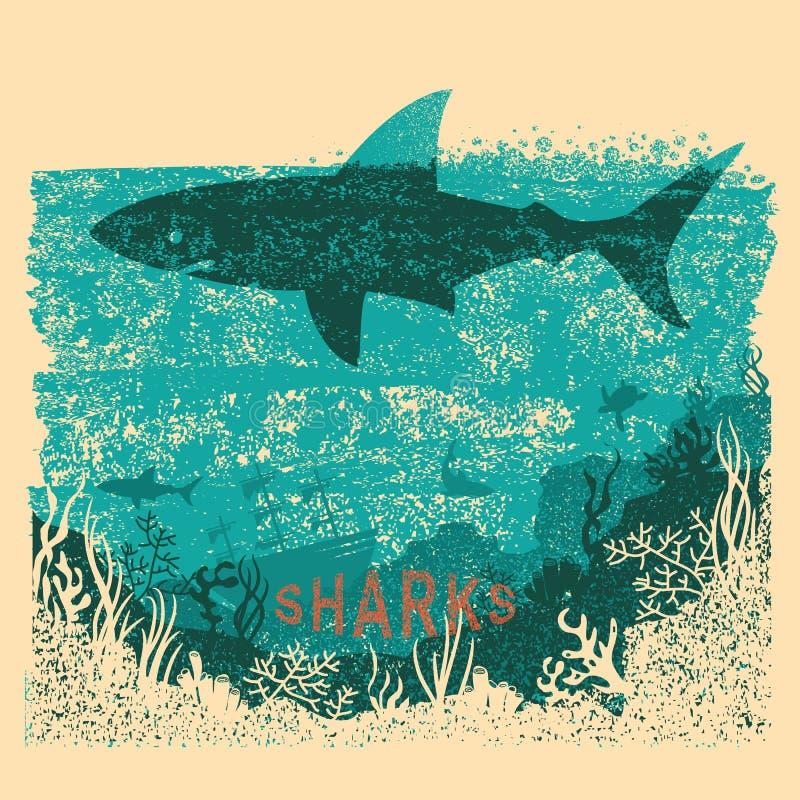 Natation de requin en mer sur le vieux fond de papier d'affiche avec le texte V illustration de vecteur