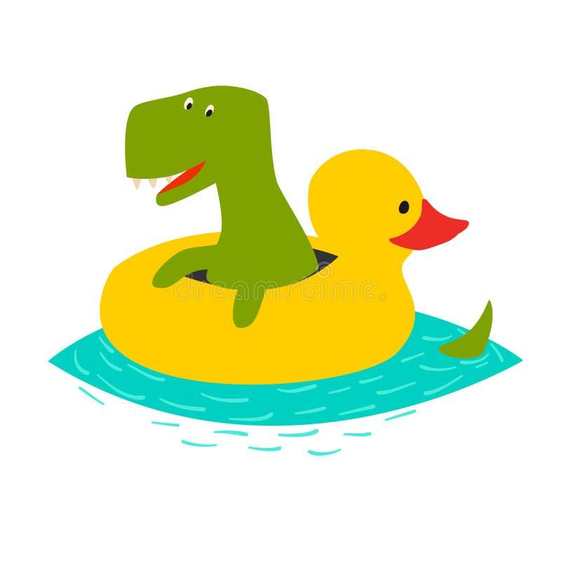 Natation mignonne de dinasaur avec l'illustration gonflable jaune de vecteur de canard illustration de vecteur