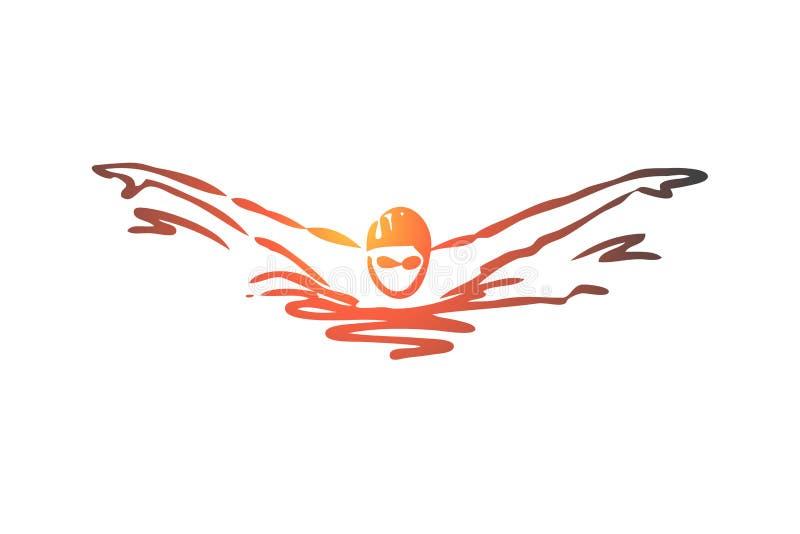 Natation, papillon, course, athlète, concept de piscine Vecteur d'isolement tiré par la main illustration de vecteur