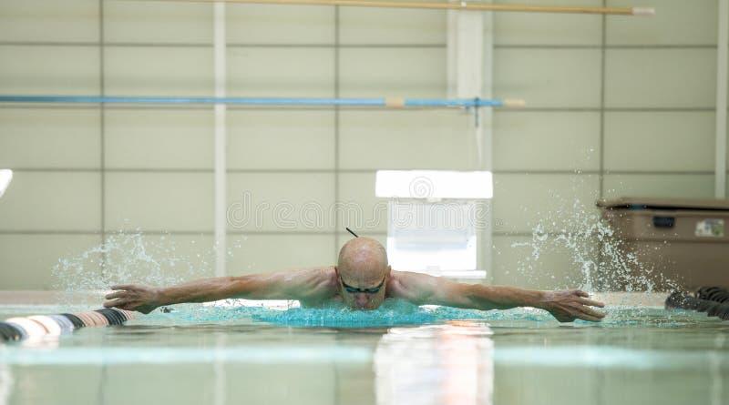 Natation pluse âgé d'athlète photographie stock