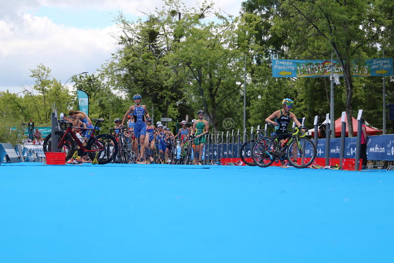 Natation saine d'exercice de sport de triathletes de triathlon images libres de droits