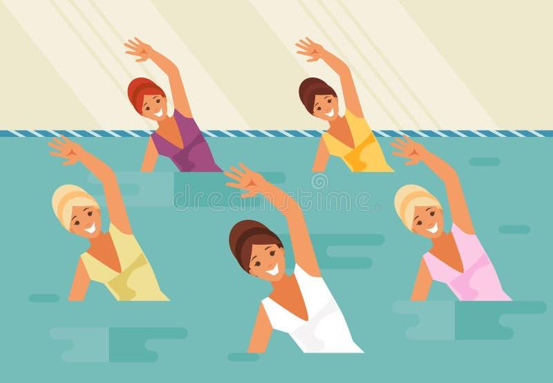Natation synchronisée Aérobic d'eau illustration stock