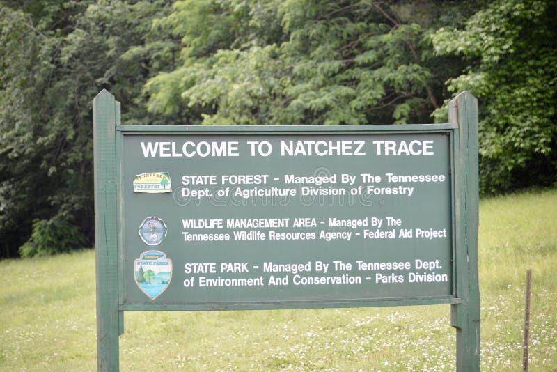 Natchez Trace State Park Welcome Sign imagem de stock