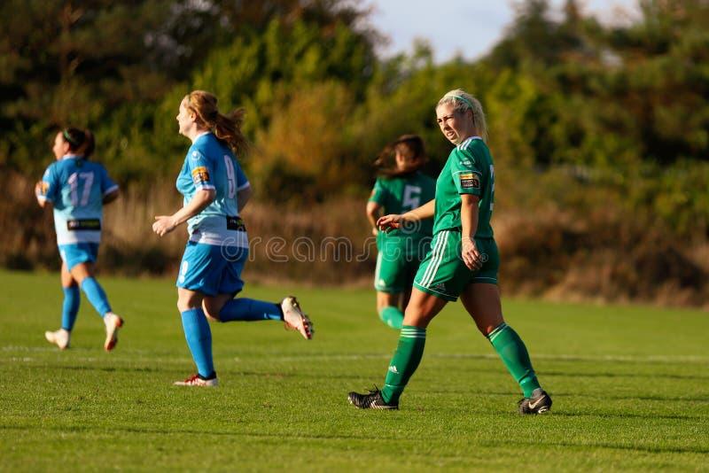 Nathalie Oâ €™Brien pendant le match de ligue national des femmes entre les femmes de Cork City FC et le Peamount unis images libres de droits