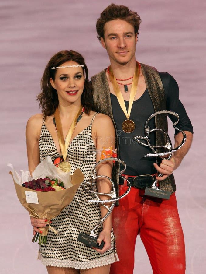 Nathalie PECHALAT/Złoto BOURZAT wygrany złoto obrazy royalty free