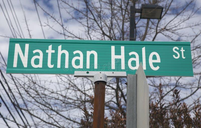 Nathan Hale Street-teken royalty-vrije stock fotografie