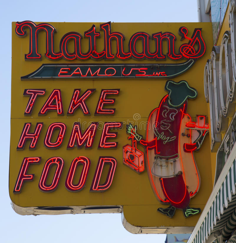 Download The Nathan's Original Restaurant Sign Editorial Photography - Image of island, city: 39511817