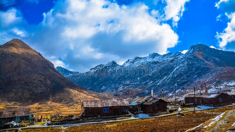 Nathang valley east sikkim northeast. Featuring the magnificent mountains that surround it. The view is credible in the clear sky showing incredible india stock images