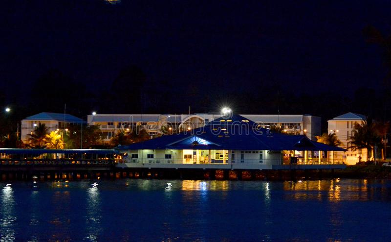 Nathon Town, Koh Samui , Thailand (in the night ,blurry background) stock photos