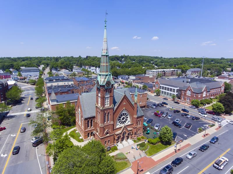 Natick downtown aerial view, Massachusetts, USA. Natick First Congregational Church, Town Hall and Common aerial view in downtown Natick, Massachusetts, USA royalty free stock photography