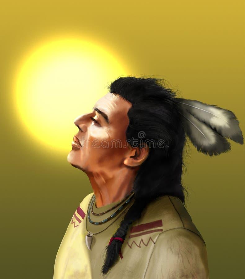 Natif américain et soleil illustration libre de droits
