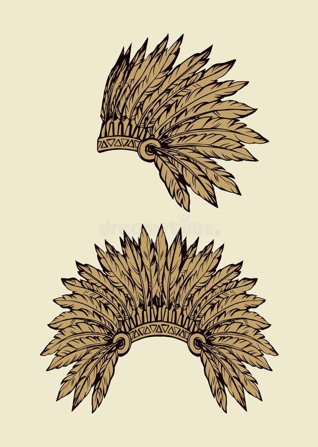 Natif am?ricain avec des plumes Retrait de vecteur illustration de vecteur