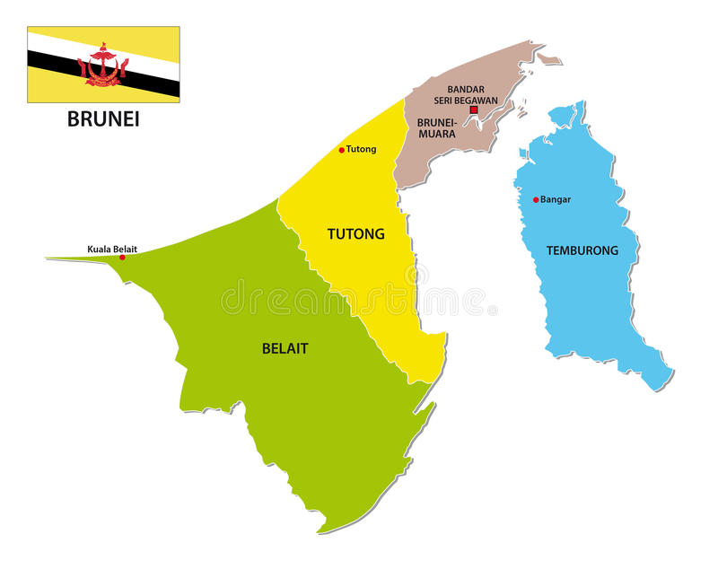 Nation Of Brunei Administrative And Political Map With Flag Stock