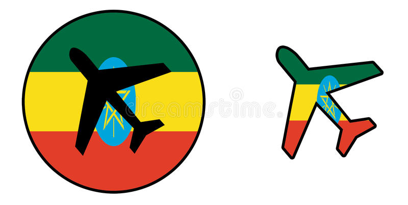 Nation flag - Airplane isolated - Ethiopia. Nation flag - Airplane isolated on white - Ethiopia royalty free illustration