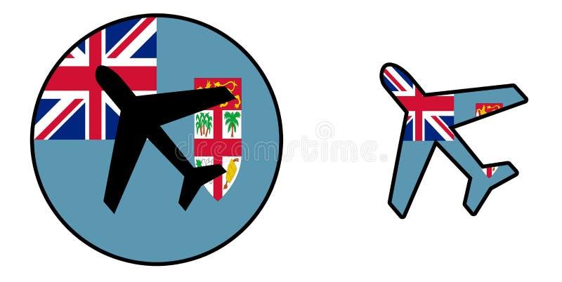 Nation flag - Airplane isolated - Fiji. Nation flag - Airplane isolated on white - Fiji vector illustration