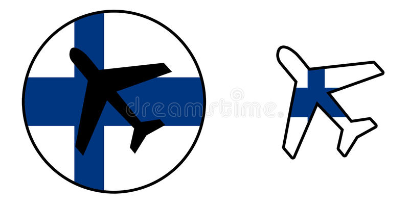 Nation flag - Airplane isolated - Finland. Nation flag - Airplane isolated on white - Finland vector illustration